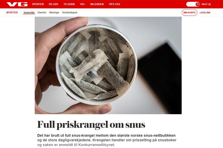 VG.no: Full priskrangel om snus